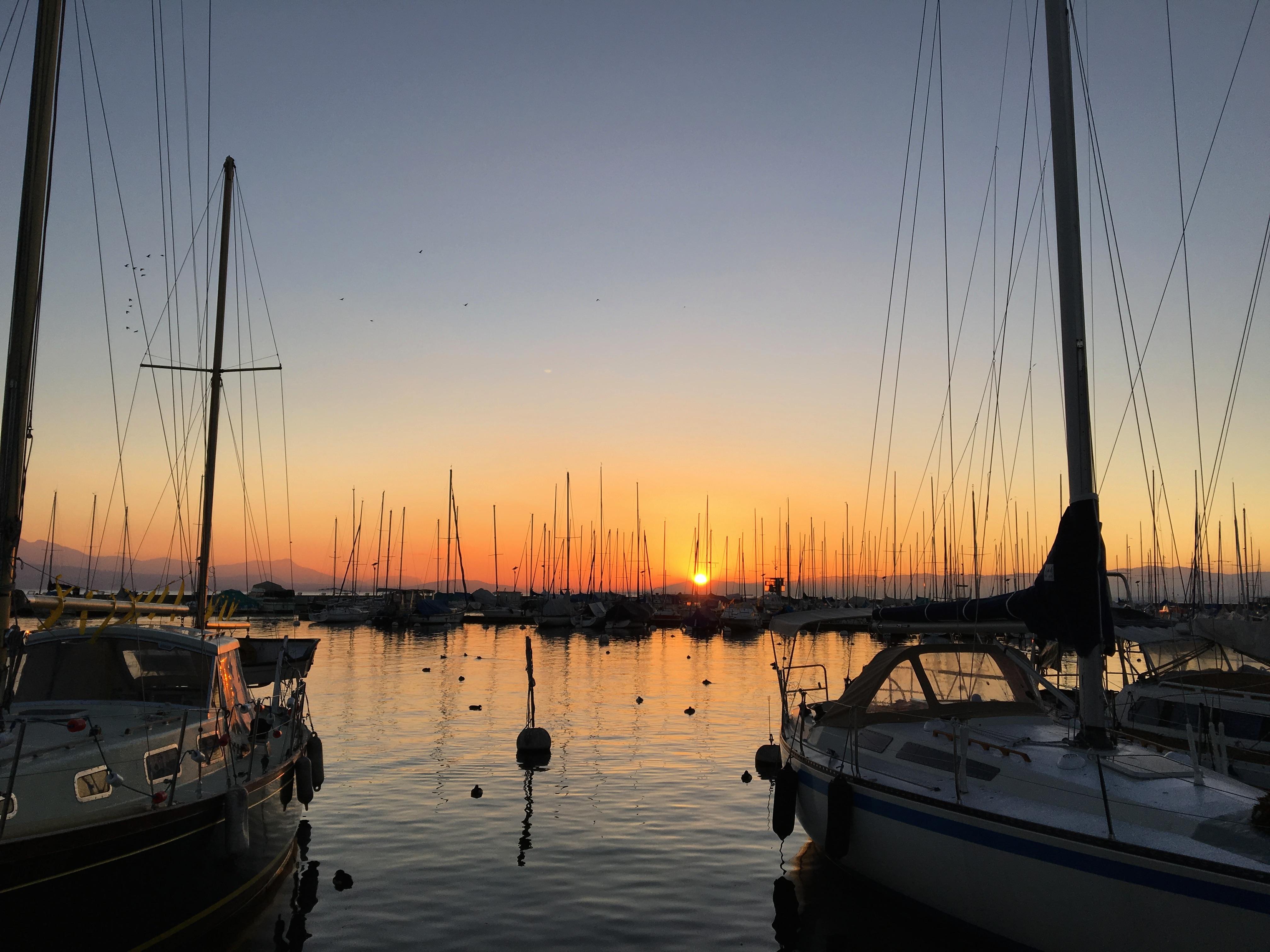 Port lac Léman Lausanne coucher de soleil