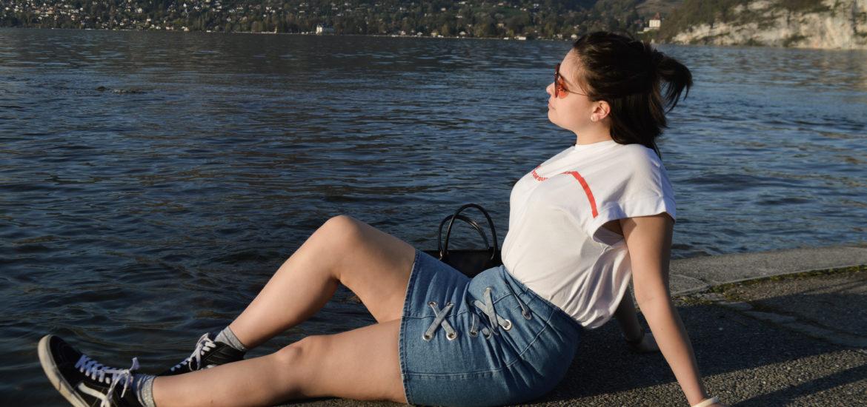 jupe en jean asos t shirt zara lac d'annecy